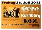 Plakat Beach Party in Kürnberg am Freitag, 26. Juli 2013