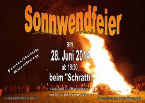 Plakat Sonnwendfeier 28. Juni 2014