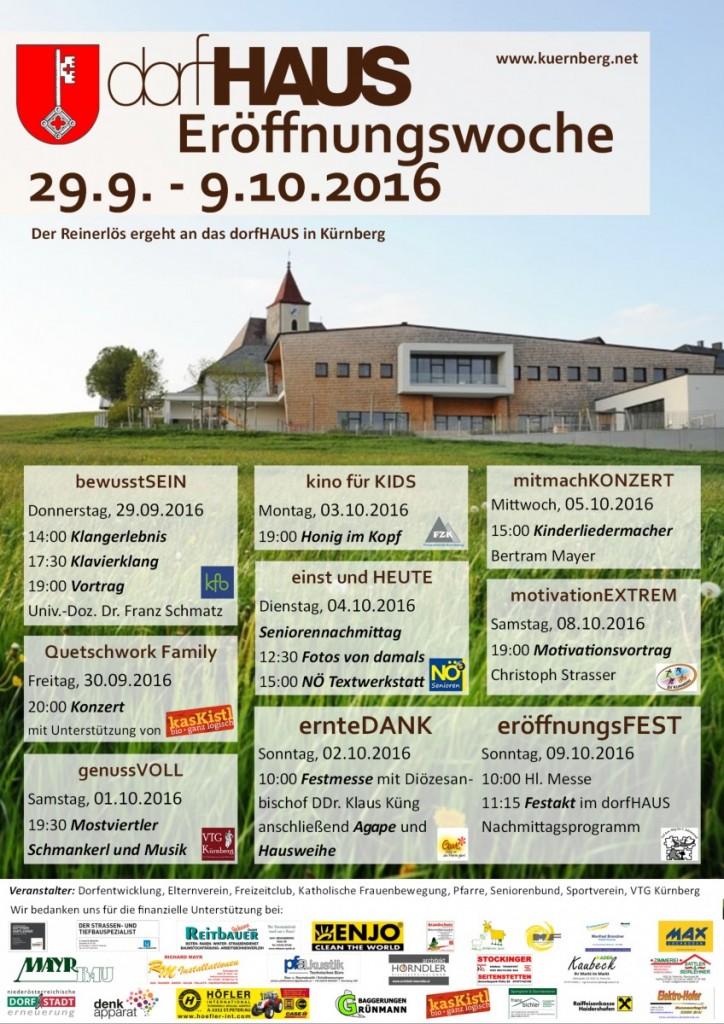 Plakat Eröffnungswoche Dorfhaus 24-08-2016