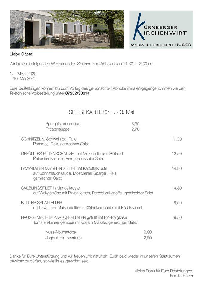 Speisenangebot zum Abholen, Gasthaus Huber Kürnberg