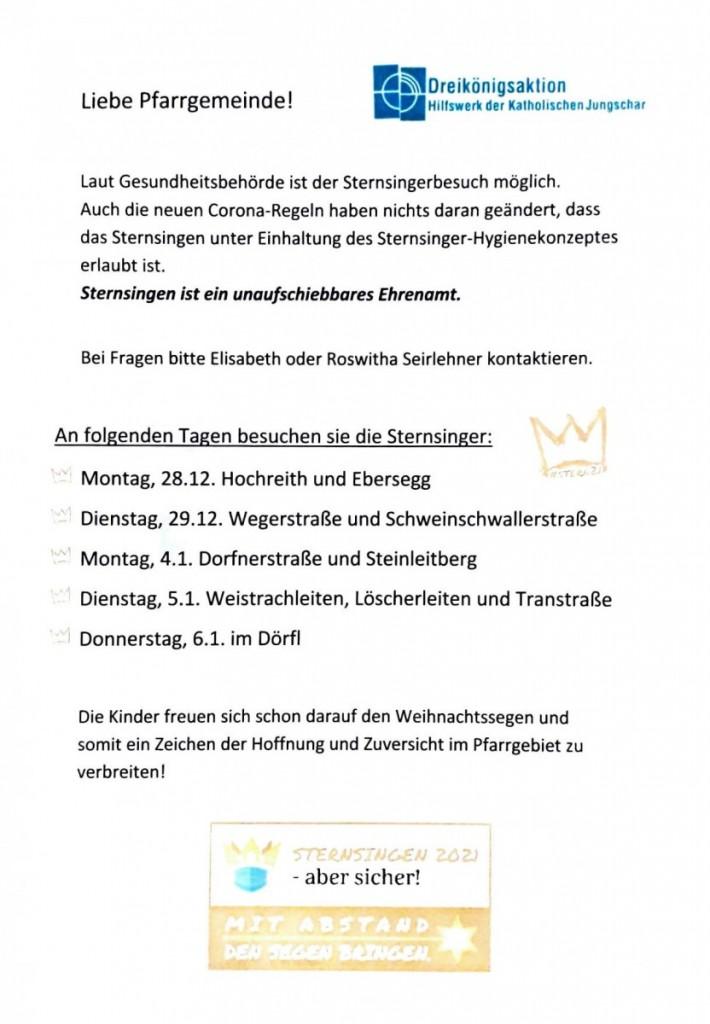 Sternsingen Info 20211
